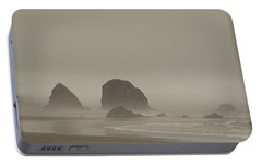 Portable Battery Charger featuring the photograph Cannon Beach In A Fog Oregon by Yulia Kazansky