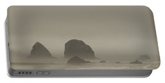 Cannon Beach In A Fog Oregon Portable Battery Charger
