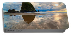 Cannon Beach With Storm Clouds In Oregon Coast Portable Battery Charger