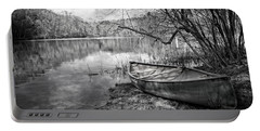 Canoe At The Lake Black And White Portable Battery Charger