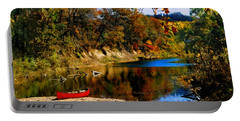Portable Battery Charger featuring the photograph Canoe On The Gasconade River by Steve Karol