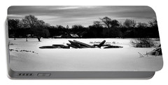Canoes In The Snow - Monochrome Portable Battery Charger