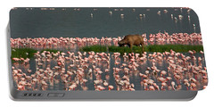 Cape Buffalo And Lesser Flamingos Portable Battery Charger by Panoramic Images