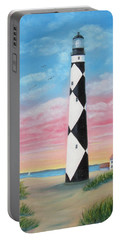 Portable Battery Charger featuring the painting Cape Lookout Sunset by Fran Brooks