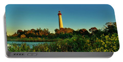 Cape May Lighthouse Above The Flowers Portable Battery Charger