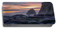 Cape Rocks And Surf Sunset Portable Battery Charger