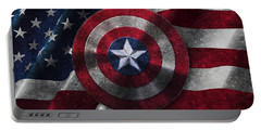 Captain America Shield On Usa Flag Portable Battery Charger by Georgeta Blanaru