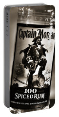 Captain Morgan Black And White Portable Battery Charger by Janie Johnson