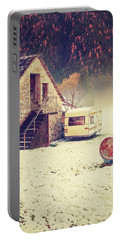 Caravan In The Snow With House And Wood Portable Battery Charger