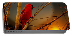 Cardinal At Sunset Valentine Portable Battery Charger