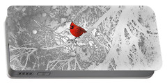 Cardinal In Winter Portable Battery Charger