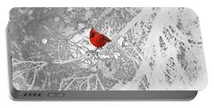Cardinal In Winter Portable Battery Charger by Ellen Henneke