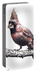 Cardinal Male Portable Battery Charger by Katharina Filus