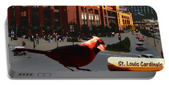 Portable Battery Charger featuring the digital art Cardinal Town by John Freidenberg