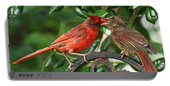 Cardinal Bird Valentines Love  Portable Battery Charger by Luana K Perez