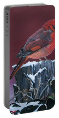 Cardinal Winter Songbird Portable Battery Charger by Sharon Duguay