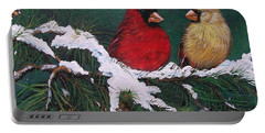Cardinals In The Snow Portable Battery Charger