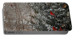 Cardinals In Winter 1 Square Portable Battery Charger