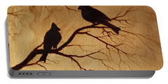 Portable Battery Charger featuring the painting Cardinals Silhouettes Coffee Painting by Georgeta  Blanaru