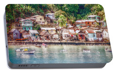Portable Battery Charger featuring the photograph Caribbean Village by Hanny Heim