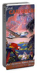 Caribbean Vintage Travel Poster Portable Battery Charger