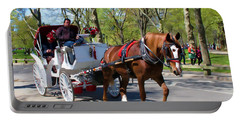 Carriage Ride In Central Park Portable Battery Charger by Eleanor Abramson