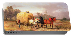 Carting Hay, 19th Century Oil On Canvas Portable Battery Charger