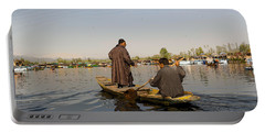 Cartoon - Kashmiri Men Plying A Wooden Boat In The Dal Lake In Srinagar Portable Battery Charger