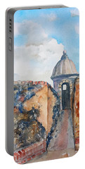 Castillo De San Cristobal Sentry Door Portable Battery Charger by Carlin Blahnik