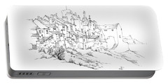 Portable Battery Charger featuring the drawing Castletown Coastal Houses by Paul Davenport