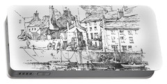 Portable Battery Charger featuring the drawing Castletown Harbour by Paul Davenport