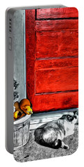 Cat By The Red Door Portable Battery Charger