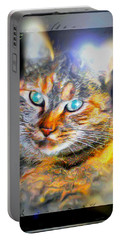 Portable Battery Charger featuring the digital art Cat by Daniel Janda
