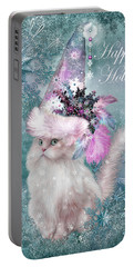 Portable Battery Charger featuring the mixed media Cat In The Snowflake Santa Hat by Carol Cavalaris