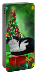 Portable Battery Charger featuring the mixed media Cat In Xmas Tree Hat by Carol Cavalaris