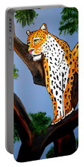 Cat On A Hot Wood Tree Portable Battery Charger by Nora Shepley