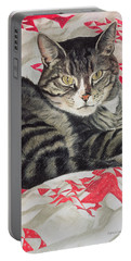 Cat On Quilt  Portable Battery Charger