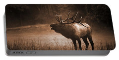 Cataloochee Bull Elk In Sepia Portable Battery Charger