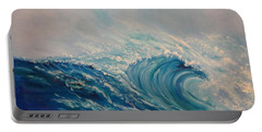 Portable Battery Charger featuring the painting Wave 111 by Jenny Lee