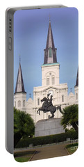 Portable Battery Charger featuring the photograph Cathedral In Jackson Square by Alys Caviness-Gober