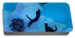 Portable Battery Charger featuring the drawing Cats -  Playing by D Hackett