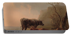 Cattle In An Italianate Landscape Portable Battery Charger by Jacob van Strij