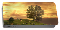 Cattle On A Hill Portable Battery Charger by Randall Branham