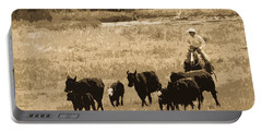 Cattle Round Up Sepia Portable Battery Charger by Athena Mckinzie
