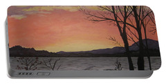Caucomgomoc Lake Sunset In Maine Portable Battery Charger