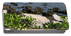 Portable Battery Charger featuring the painting Causeway Shore Blues by Ecinja