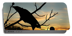 Cawcaw Over Sunset Silhouette Art Portable Battery Charger