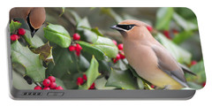 Cedar Waxwing In Holly Tree Portable Battery Charger