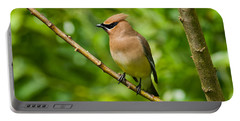 Cedar Waxwing Gathering Nesting Material Portable Battery Charger by Jeff Goulden