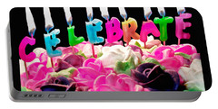 Portable Battery Charger featuring the photograph Cake Topped With Flowers And Celebrate Candles by Vizual Studio